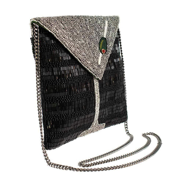 Mary Frances-Straight Up, Beaded Martini Crossbody Clutch