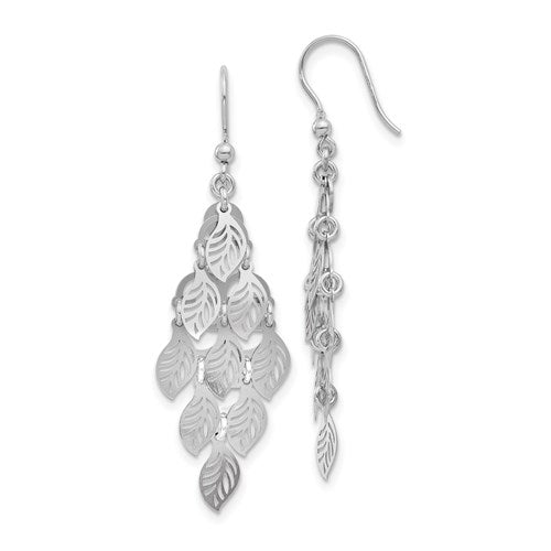 Sterling Silver Polished Leaf Dangle Earrings