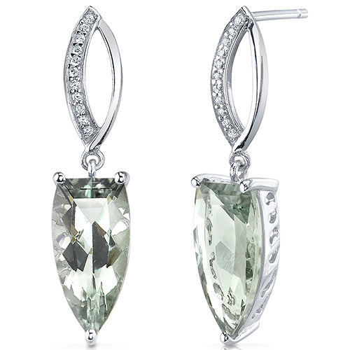 Sterling SIlver Half Marquise Cut 6.00 Carats Green Amethyst Earrings