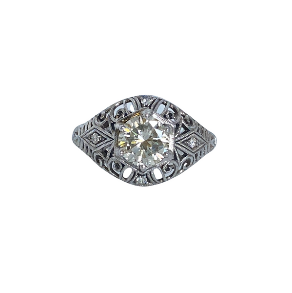 1 Carat Diamond Engagement 14K White Gold Ring