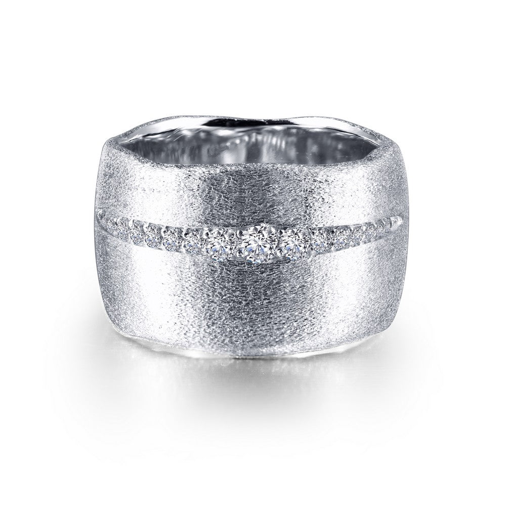 Lafonn-.21 Carat Simulated Diamonds, Sterling Silver, Platinum Wide Band Cuff Ring