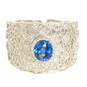 Sapphire and Diamond 18K White Gold Ring