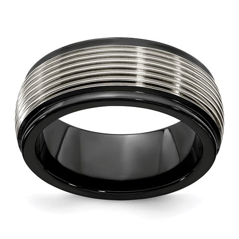 Titanium 8mm Black Design Band