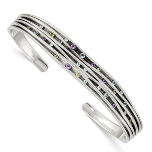 Sterling Silver Antiqued Blue Topaz/Peridot/Amethyst And CZ Cuff Bracelet