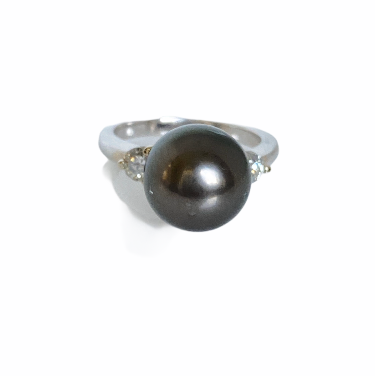 11mm Tahitian Black Pearl, Diamond, 14K White Ring