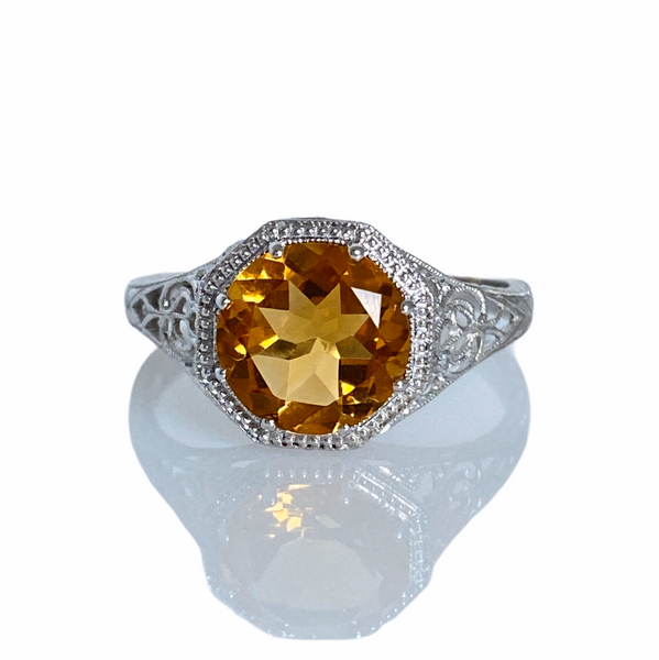Filigree 1.7 Carat Citrine, 14K White Gold Ring