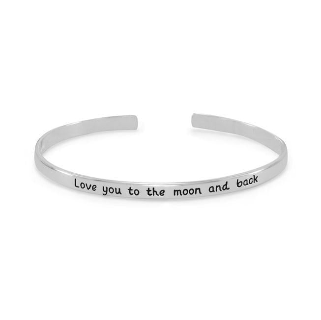 "Sterling Silver Love you to the moon and back"" Cuff Bracelet"