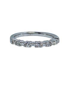 Diamond .30 Carats Round/Baguette 14K White Gold Band