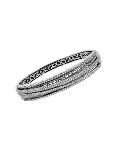Sterling Silver Multi Roll CZ Interlocking Leverback Bracelet