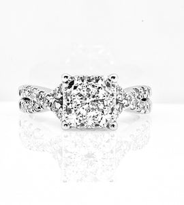 1.25cttw 14K White Gold Engagement Ring