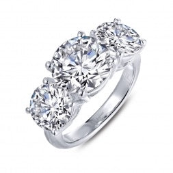Lafonn-.95 Carat Simulated Diamond, Sterling, Platinum 3 Stone Ring