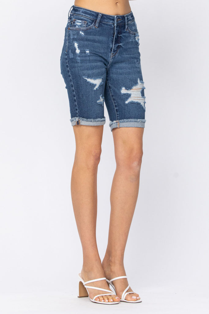 Judy Blue Distressed Bermuda Shorts