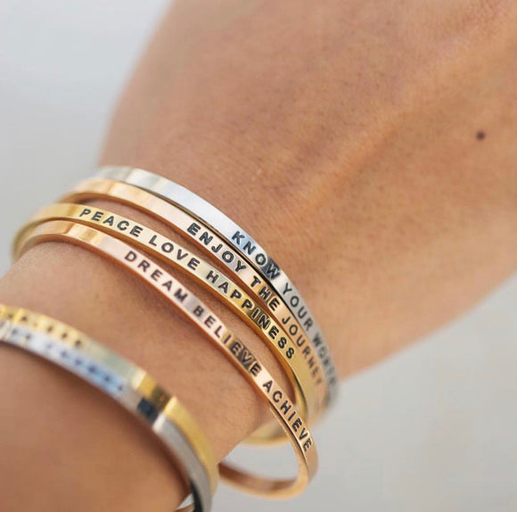 Dainty Engraved Bangles Rose gold