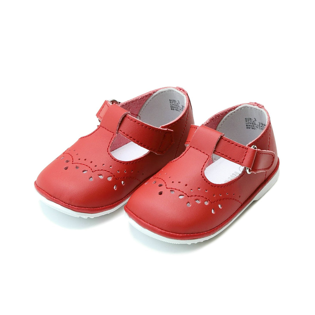 ANGEL Red \\ Leather T-Strap Stitched Mary Jane