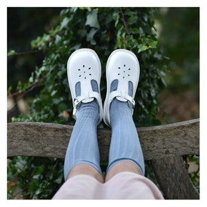 L'amour White // Leather Stitch Down T-Strap Mary Jane