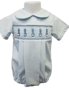 Caroyln Boys Blue Smocked Pleated Bubble - Bunnies