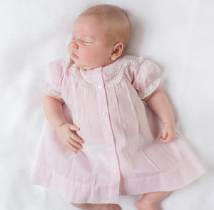 Feltman Brothers Newborn Pink Embroidered Lacy Yoke Daygown