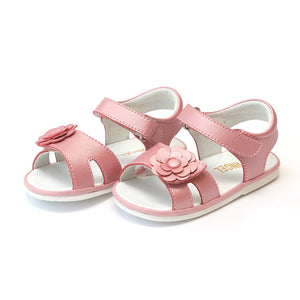 Angel Pink Guava Shimmer // Flower Cutout Sandal (Baby)