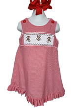 Load image into Gallery viewer, Smocked A-line Monkey Dress sizes 6mo-6 in Red microcheck or Blue seersucker with Monkey embrodiery