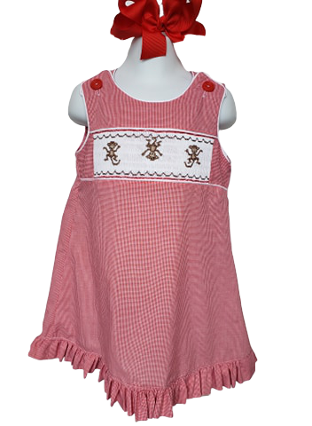 Smocked A-line Monkey Dress sizes 6mo-6 in Red microcheck or Blue seersucker with Monkey embrodiery