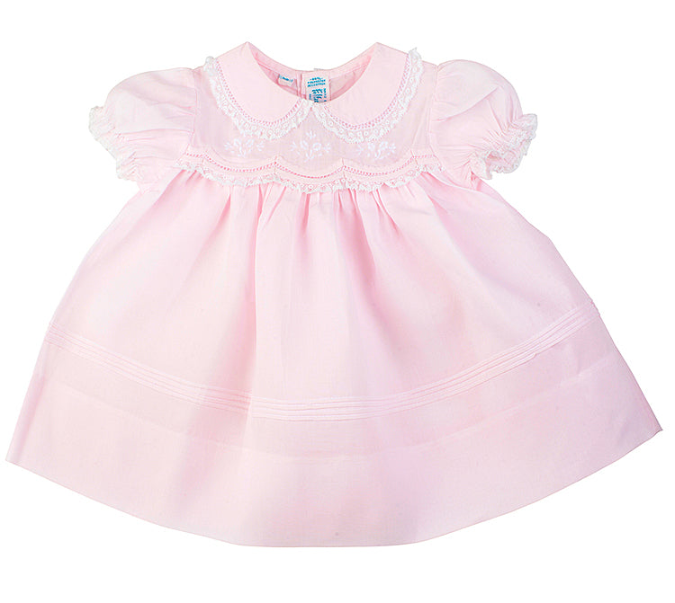 Feltman Brother Newborn Pink Scalloped Lace Dress