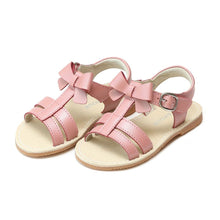 Load image into Gallery viewer, L'Amour Janie Girls T-Strap Bow Sandal White, Guava, Pink, Champagne, or Silver K470