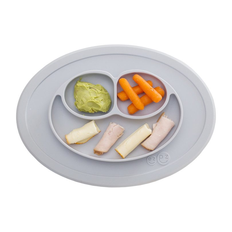 EzPz Pewter Grey Mini Mat Suction Plate w/ Travel bag (Home, Restaurant, or Playtime)