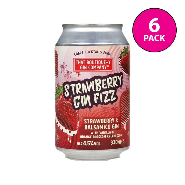 Boutique-y Strawberry Gin Fizz Cocktail Cans 6x330ml