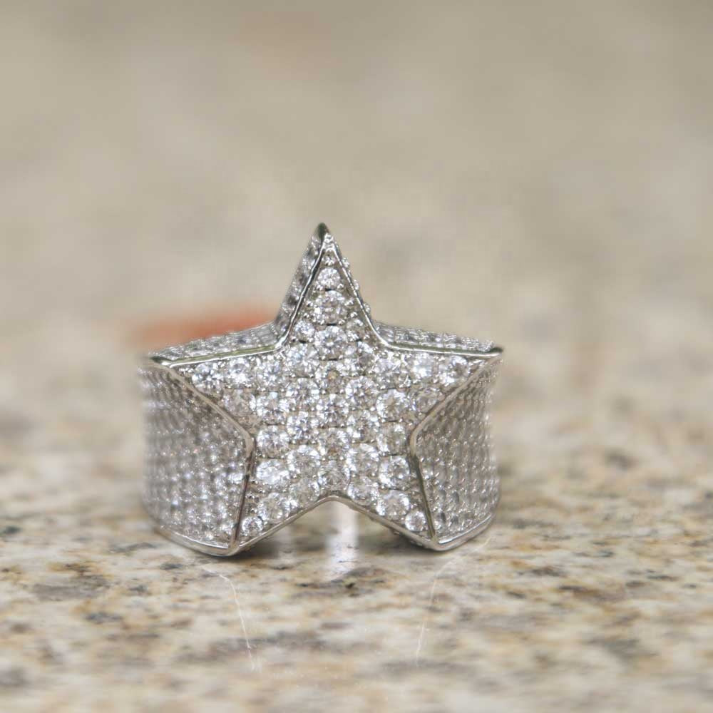 STAR RING | - 18K White Gold