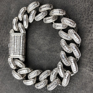BAGUETTE BRACELET | 12mm | - 18K White Gold