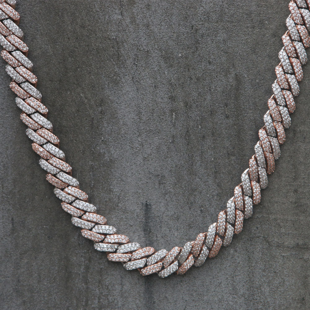 CUBAN PRONG CHAIN | 12mm | - 18K Rose & White Gold