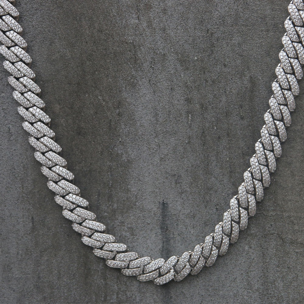 CUBAN PRONG CHAIN | 12mm | - 18K White Gold