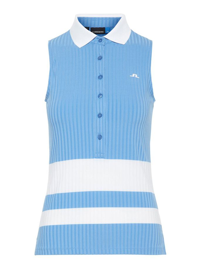 NORA RIBBED JERSEY SLEEVELESS POLO (2 Colors Available)