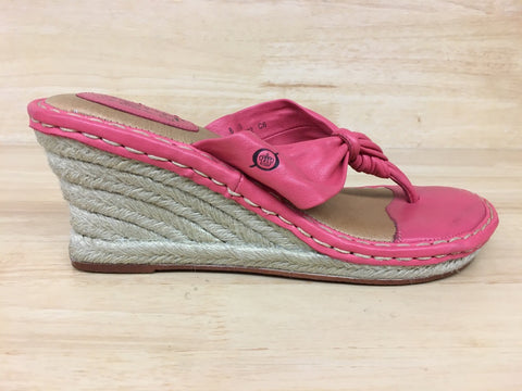 Born Jute Espadrille Wedge Slip-on Sandal Coral AS IS