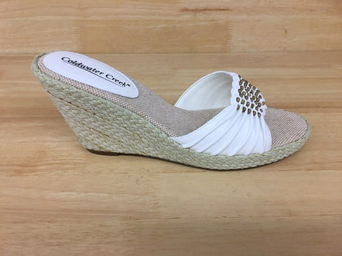Coldwater Creek Jute Espradrille Wedge Sandal White
