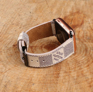 White LV Authentic Apple Watch Band 38mm 40mm 42mm 44mm watch band for Series 5 4 3 2 1