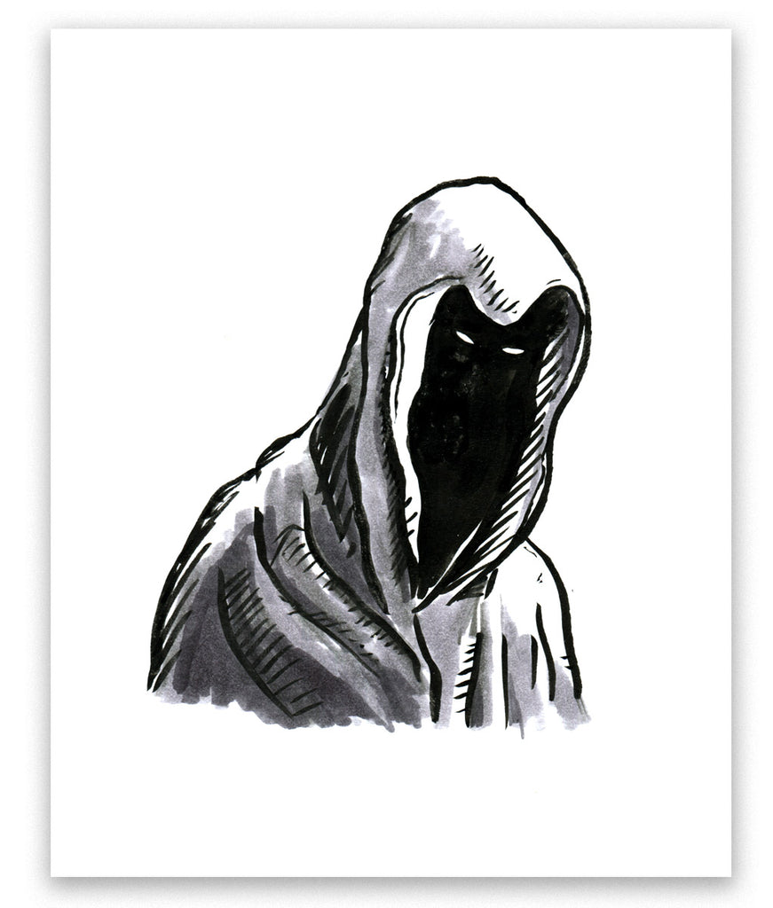 Inktober 2017, Day 7: Hooded Figure (Shy)