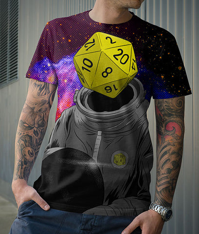 Roll Play Dice Portrait Classic Fit Allover Print T-Shirts
