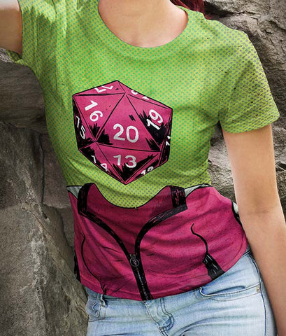 Roll Play Dice Heads Women's Allover Print T-Shirts