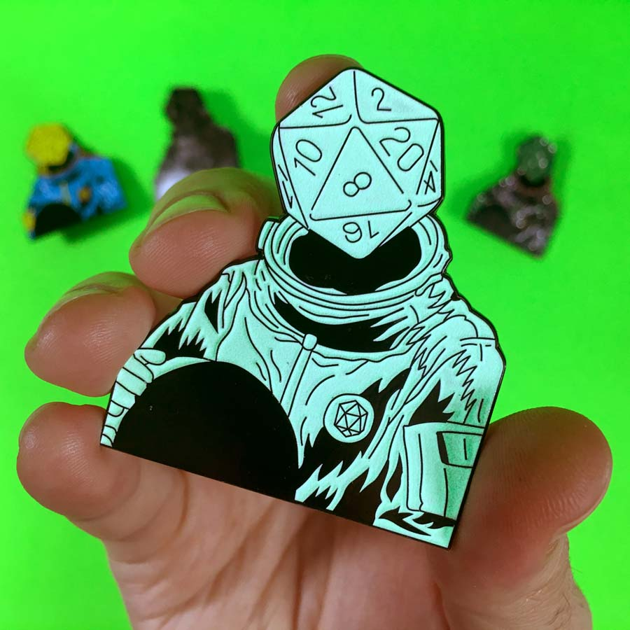 d20 Astronaut Soft Enamel Pin: Glow in the Dark Variant