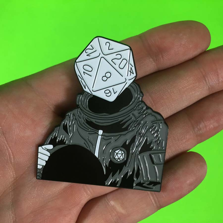 d20 Astronaut Soft Enamel Pin: Old-School Variant