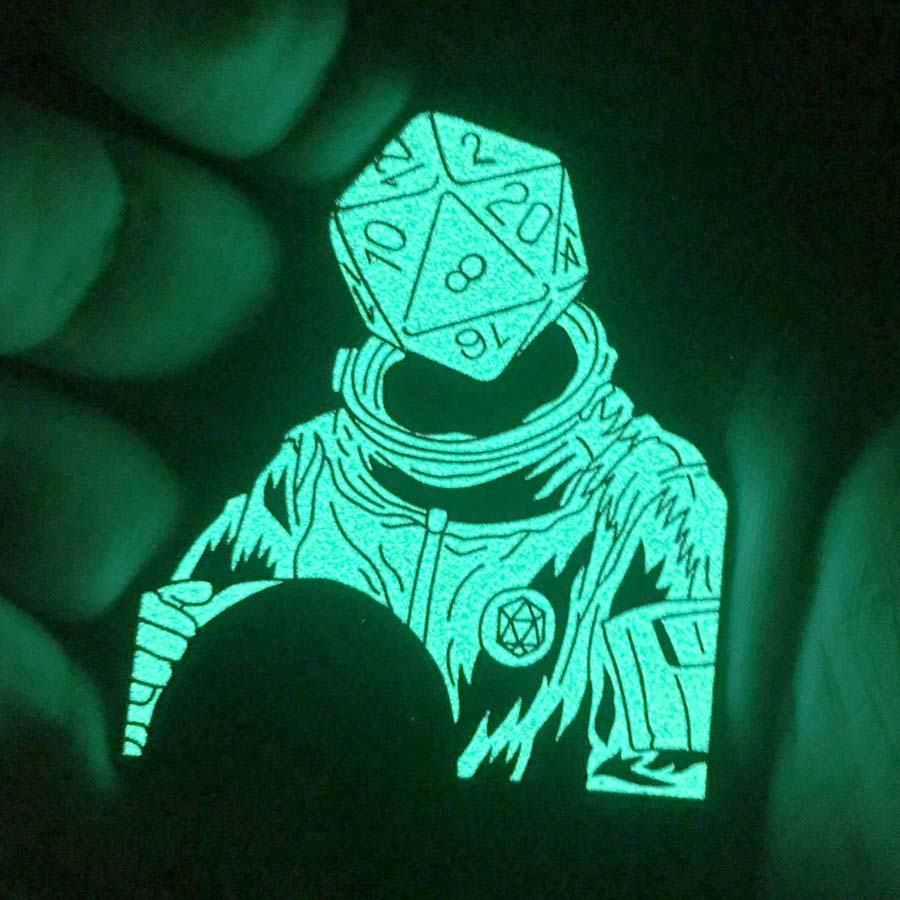 d20 Astronaut Soft Enamel Pin: Glow in the Dark Variant (effect)