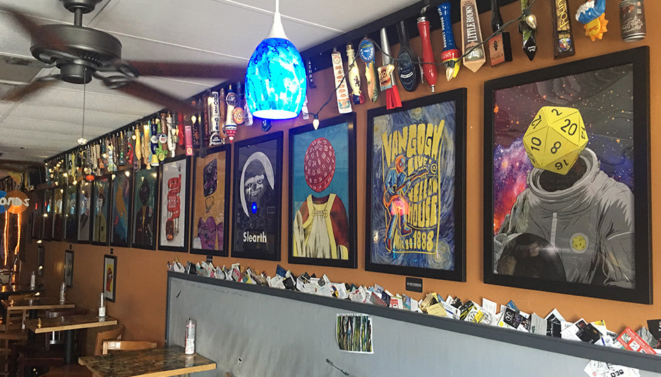 Framed Posters by Lee Bretschneider on display at Nice Guys Pizza (Cape Coral, FL)