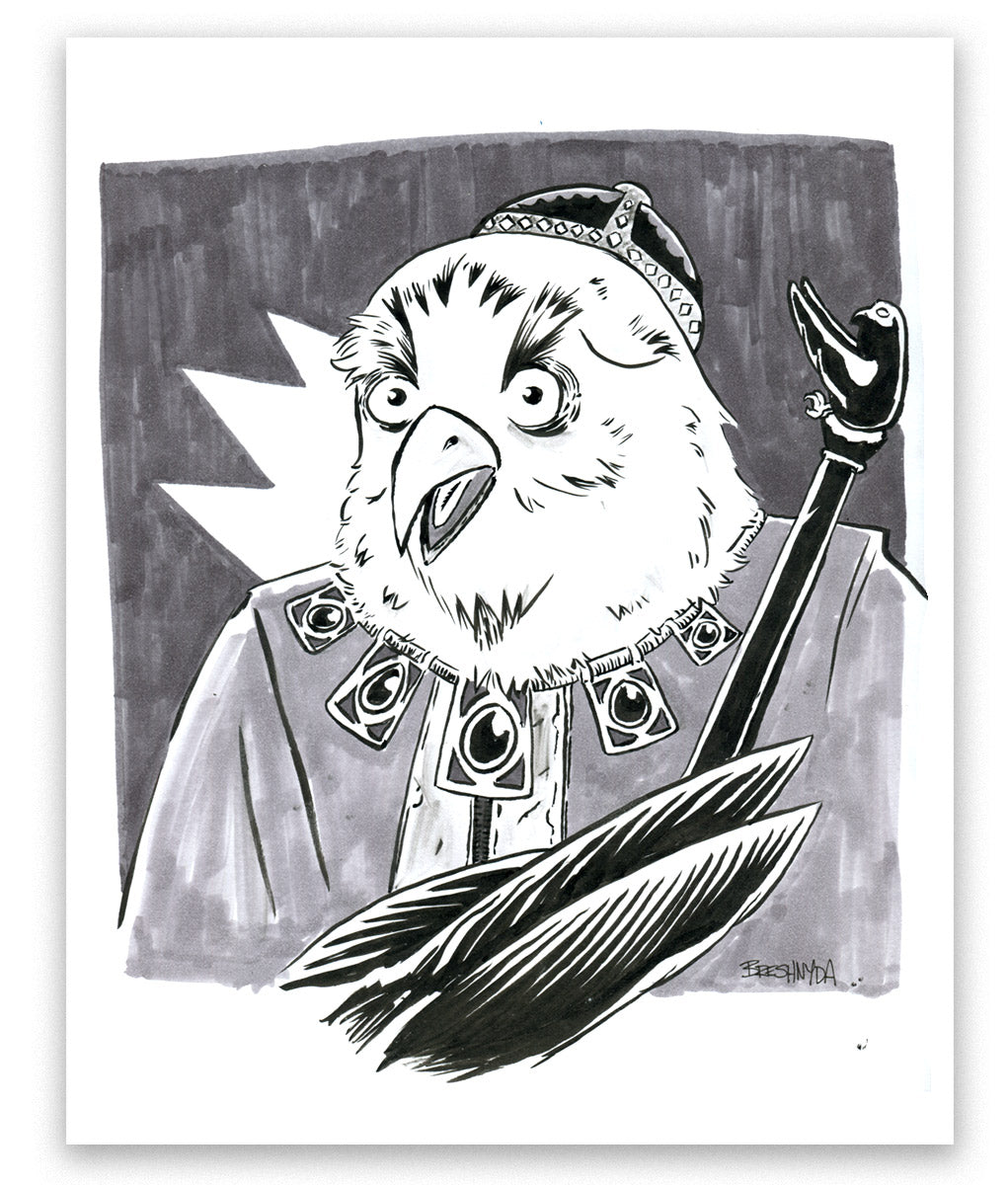"""Owl Cleric"" Ink Sketch"