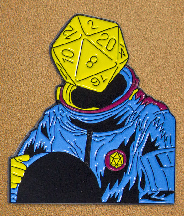 """d20 Astronaut"" Art Pin"