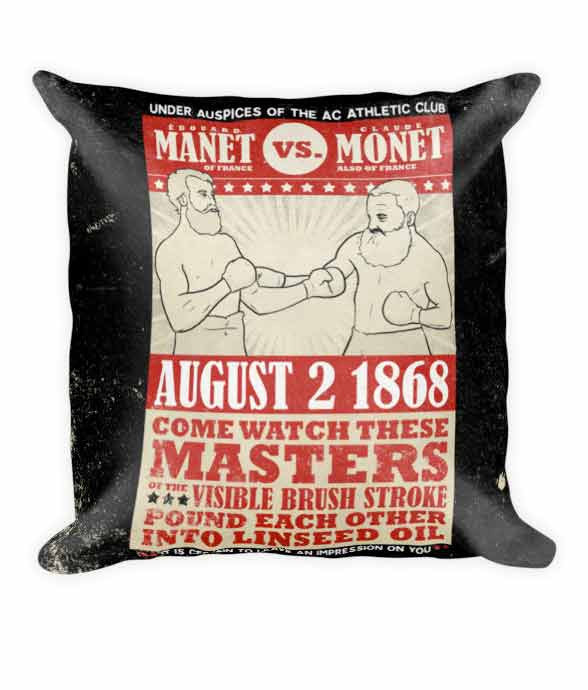 """Manet vs. Monet"" Vintage Boxing Poster Pillow 