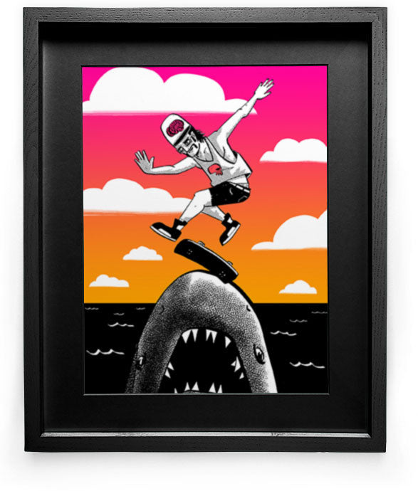"""Kickflip the Shark"" Art Print"