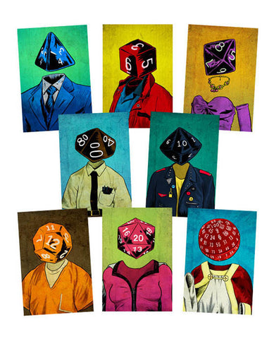 """Roll Play Dice Heads"" Postcard Pack"
