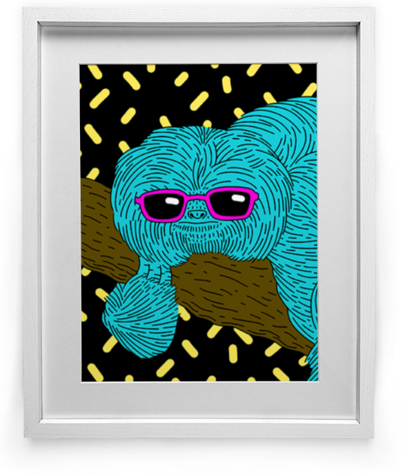 """Keeping Your Cool"" Sloth art by Lee Bretschneider"