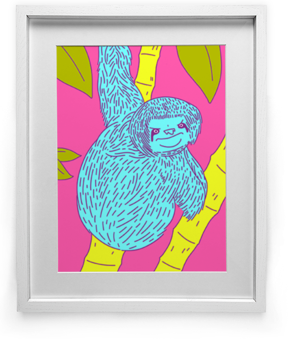 """Hangin' Tough"" Sloth art by Lee Bretschneider"